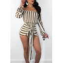 Trendy Vertical Striped Off the Shoulder Long Sleeve Tied Front Summer Romper for Women