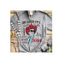 Fashionable Character Printed OII LORD IT'S Letter Gray Short Sleeves Round Neck Tee