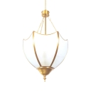 Dinging Room Up Lighting Chandelier Metal and Glass 3 Lights Elegant Ceiling Light