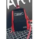 Street Style Color Block Letter Printed Ribbon Detail School Bag Backpack 27*11*40 CM