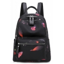 Popular Printed Large Capacity Nylon Waterproof Black School Bag Backpack 30*14*34 CM