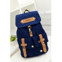 Retro Trend Plain Leather Belt Patch Double Pockets Decoration Canvas Backpack 30*14*40 CM