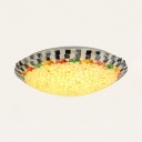 Modern Bowl Ceiling Light Colorful Shell Glass Flush Mount Light for Coffee Shop