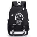 Designer Letter Cartoon Boy Printed Multipurpose Travel Backpack with USB Charger Travel Sport Bags 30*15*46 CM