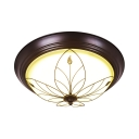 Vintage Style Bowl Ceiling Lamp Frosted Glass White Flush Light in White/Warm for Balcony