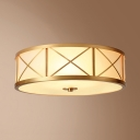 Elegant Style Brass Ceiling Lamp Round 2/3/4 Lights Frosted Glass Flush Light for Hotel