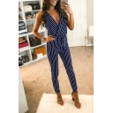 Fashion Navy Striped Printed V-Neck Straps Bow-Tied Waist Slim Fit Pants Jumpsuits For Women