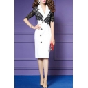 Office Lady Chic Lace Panel Half Sleeve Notched Lapel Collar Button Front Midi Formal White Pencil Dress
