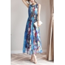 Women's Holiday Floral Printed Round Neck Sleeveless Maxi Chiffon Bohemian Beach Dress