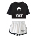 New Fashion I LOVE YOU 3000 Letter Graphic Print Cropped Tee with Casual Shorts Sport Two-Piece Set for Girls