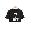Popular Figure Letter I LOVE YOU 3000 Basic Short Sleeve Cropped T-Shirt for Girls