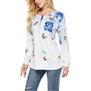 New Trendy Butterflies Printed Long Sleeve Round Neck Button White T-Shirt