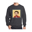 Cartoon Figure Printed Basic Round Neck Long Sleeve Pullover Sweatshirt