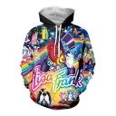 New Trendy Cute Cartoon Rainbow Galaxy Printed Long Sleeve Pullover Hoodie
