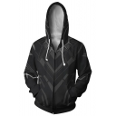 New Stylish Cool 3D Printed Long Sleeve Zip Up Black Cosplay Fitted Hoodie for Guys