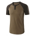 Men's Casual Simple Plain Color Block Round Neck Short Sleeve Henley Shirt