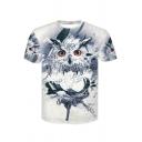 Summer Hot Popular 3D Owl Printed Basic Round Neck Short Sleeve White T-Shirt For Men