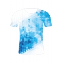 New Trendy 3D Geometric Ombre Printed Basic Round Neck Short Sleeve Casual Light Blue T-Shirt