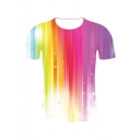New Stylish Colorblock Line 3D Printed Round Neck Short Sleeve T-Shirt