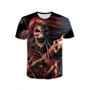 Men's Hot Popular 3D Skull Skeleton Printed Basic Round Neck Short Sleeve Slim Fit Black T-Shirt