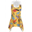 Summer Womens Hot Fashion Cartoon Animal Printed Asymmetrical Hem Sleeveless Strappy Tank Top