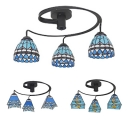 Stained Glass Semi Flush Light Living Room 3 Lights Baroque/Mediterranean/Blue Light Fixture