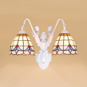 Tiffany Style Mermaid Sconce Light Stained Glass 2 Lights Wall Light for Living Room