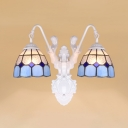 Mediterranean Style Wall Sconce with Mermaid 2 Lights Glass Sconce Light for Dining Room