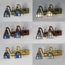 Antique Style Dome Wall Light Metal 2 Lights Blue/White Sconce Light for Dining Room