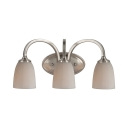 Dome Shade Dining Room Wall Light Metal Glass 3 Lights Traditional Sconce Light in Nickle