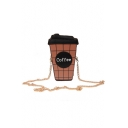 Fashion Letter Plaid Printed Coffee Cup Shape Mini Crossbody Saddle Bag 12*6*22 CM