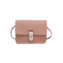 Minimalist Solid Color Hasp Square Crossbody Shoulder Bag 18*7*14 CM