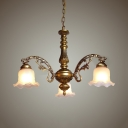 Elegant Style Pendant Light with White Bell Shade 3/6 Lights Frosted Glass Chandelier for Hotel