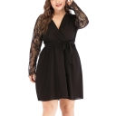 Womens Plus Size Solid Color Lace Long Sleeve V-Neck Wrap Tied Waist Mini A-Line Black Dress