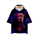 Cool 3D Dog Printed Short Sleeve Blue Casual Loose Hooded T-Shirt