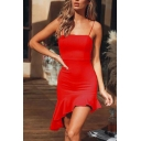 Women's Hot Fashion Plain Printed Square Neck Sleeveless Backless Mini Bodycon Cami Dress