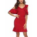 Women's New Trendy Plain Print Ruffle Detail Backless Short Sleeve V-Neck Mini Bodycon Red Dress