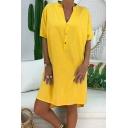 Women's New Trendy Plain Printed Button Front V-Neck Short Sleeeve Mini Shirt Dress