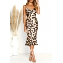 Summer's Hot Fashion Leopard Print Sleeveless V-Neck Sexy Midi Slip Khaki Dress