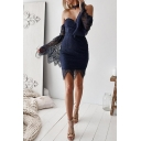 Womens Hot Fashion Plain Print Sexy Off the Shoulder Long Sleeve Mini Bodycon Lace Dress