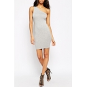 Women's New Style One Shoulder Sleeveless Plain Mini Grey Bodycon Dress