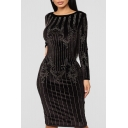 Womens Long Sleeve Round Neck Hot Drill Velvet Bodycon Midi Dress