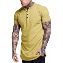 Men's Summer Fashion Short Sleeve Button V-Neck Plain Henley Shirt