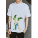 Stylish Summer Green Shoes Print Round Neck Half Sleeve Loose Fit T-Shirt for Men