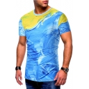Men's Fashion Creative 3D Painting Print Round Neck Short Sleeve Blue Fitted T-Shirt