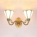 Glass Flower Sconce Light 2 Lights Tiffany Style Wall Light in White for Living Room