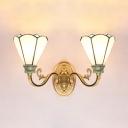 Glass Flower Sconce Light 2 Lights Tiffany Style Wall Light in White for Living Room