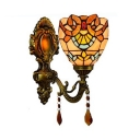 Colorful Dome Wall Light 1 Light Tiffany Style Baroque Glass Sconce Light for Bathroom Stair