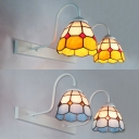 Tiffany Style Dome Wall Sconce 2 Lights Stained Glass Sconce Light in Blue/Yellow for Bathroom