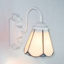 White Cone Shade Wall Light 1 Light Tiffany Style Glass Sconce Lamp for Dining Room Kitchen